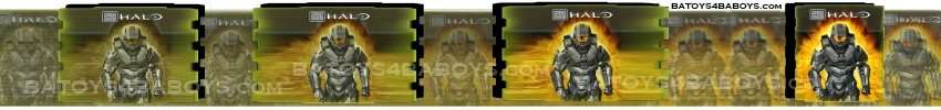 2014 Halo Mega Bloks Master Chief like Foreunner Soldier's progression through conception graphics.