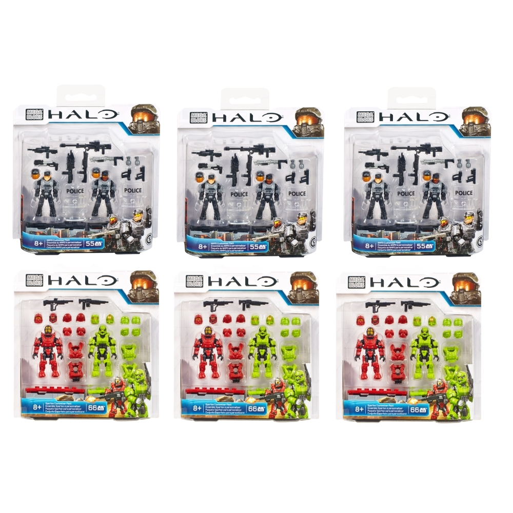 2015 Halo Mega Bloks <b>Halo Customizer Six Pack [3 NMPD & 3 Spartan - 12 Figures!]</b> is an officially licensed, authentic Mega Bloks Halo product at B.A. Toys featuring Halo Customizer SIX Pack by Mega Bloks Halo