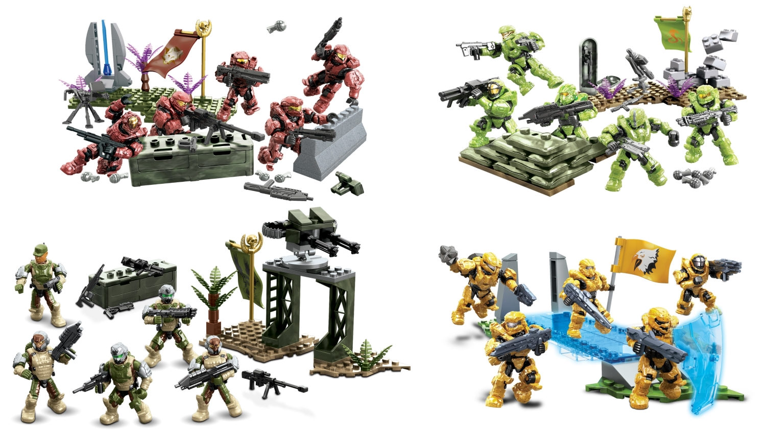 2015 Halo Mega Bloks <b>B.A. Toys Fireteam Reinforcement [Crimson, Venom, Eagle & Sierra]</b> is an officially licensed, authentic Mega Bloks Halo product at B.A. Toys featuring B.A. Toys Fireteam Reinforcement [Crimson, Venom, Eagle & Sierra] by Mega Bloks Halo