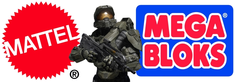 Mattel logo with Master Chief in glorious armor holding battle rifle promoting Halo Mega Bloks and Mega Bloks Halo, Lego compatible.