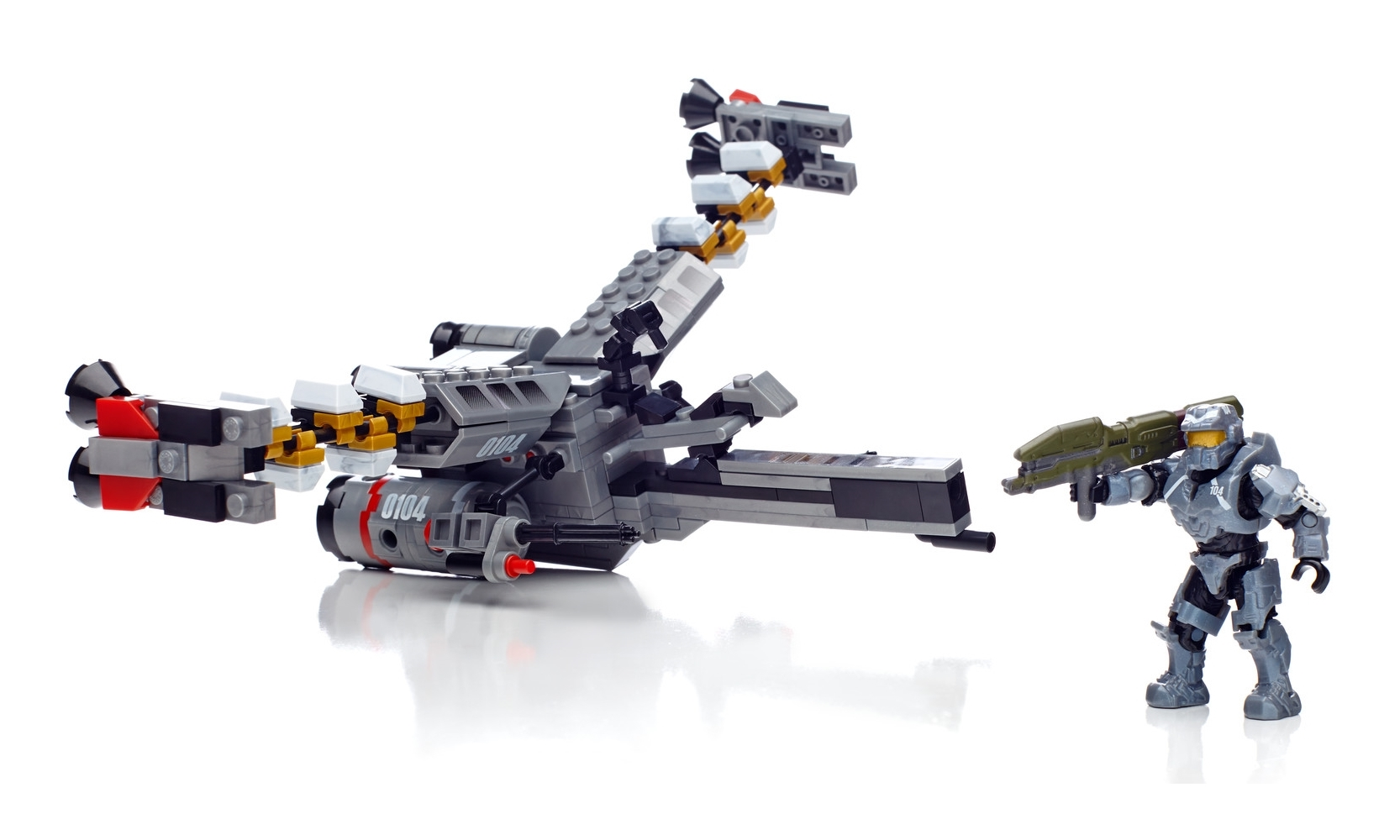 EVA Booster Frame featuring Halo Mega Bloks Fred figure with weapon, building block toy set 97453.