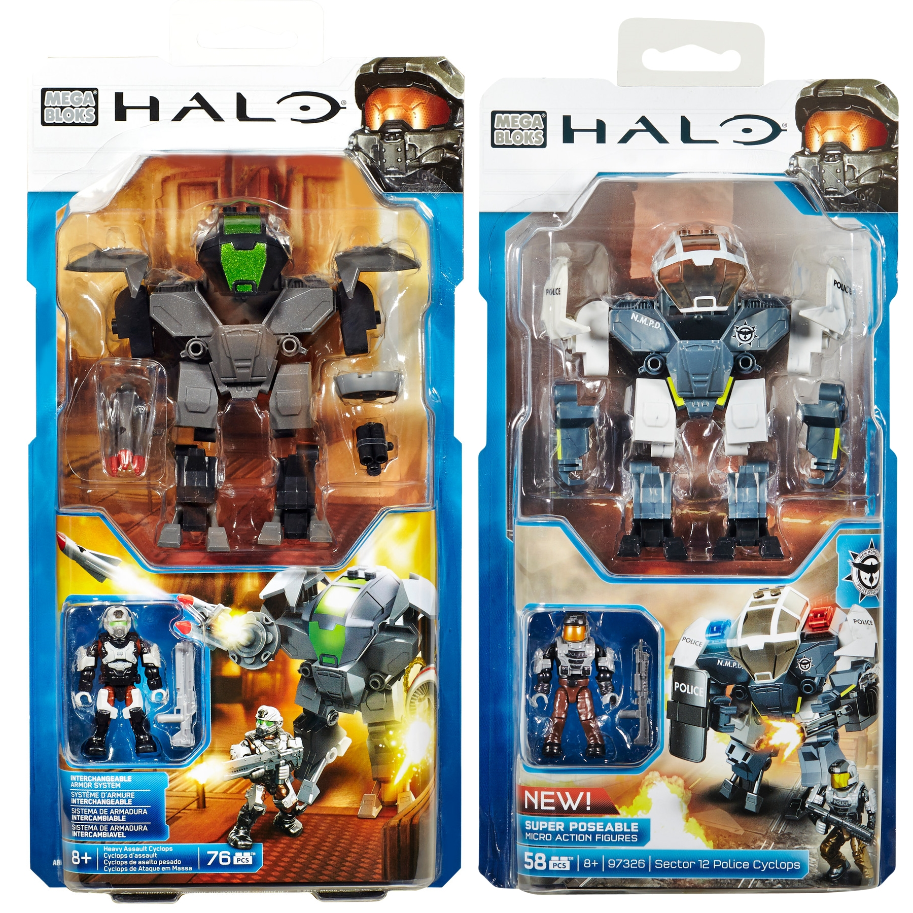 2015 Halo Mega Bloks <b>Heavy Assault Cyclops & Sector 12 Police Cyclops</b> is an officially licensed, authentic Mega Bloks Halo product at B.A. Toys featuring Heavy Assault Cyclops & Sector 12 Police Cyclops by Mega Bloks Halo
