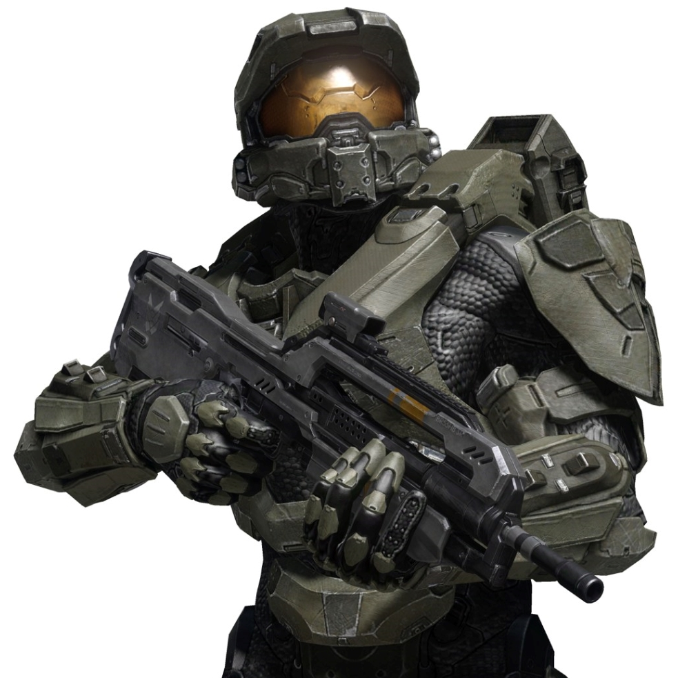 Halo Master Chief with battle rifle promoting the new Mattel 2015 Halo Mega Bloks Spring Sets
