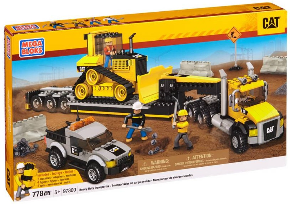 Cat Mega Bloks Heavy-Duty Transporter (CAT) officially licensed Cat Mega Bloks product at B.A. Toys.