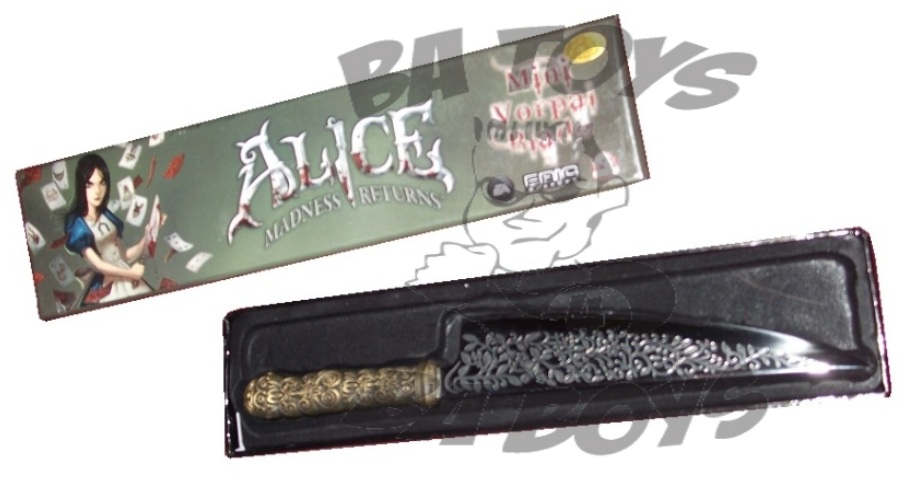 Picture of the Alice Madness Returns Mini Vorpal Blade being displayed in the open collector box