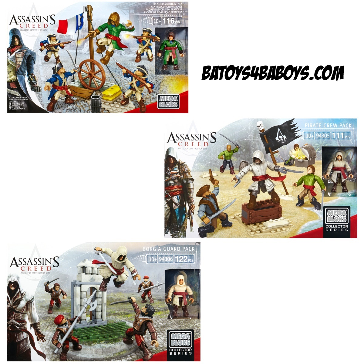 Mega Bloks Assassin's Creed Figure Pack Bundle [French Revolution, Pirate & Borgia] is an officially licensed, authentic Mega Bloks Assassin's Creed product at B.A. Toys featuring [French Revolution, Pirate & Borgia] by Mega Bloks Assassin's Creed