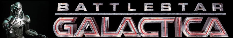 cylon standing next to Battlestar Galactica tag logo on dark black background.