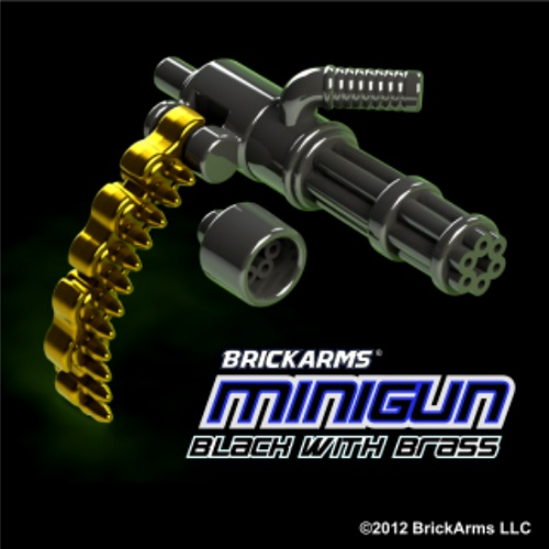 BrickArms BLACK & BRASS Minigun is an officially licensed, authentic BrickArms product at B.A. Toys featuring BLACK & BRASS Minigun by BrickArms