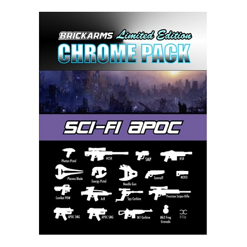 BrickArms CHROME SciFi Apoc Limited Edition Weapon Pack is an officially licensed, authentic BrickArms product at B.A. Toys featuring CHROME SciFi Apoc Limited Edition Weapon Pack by BrickArms
