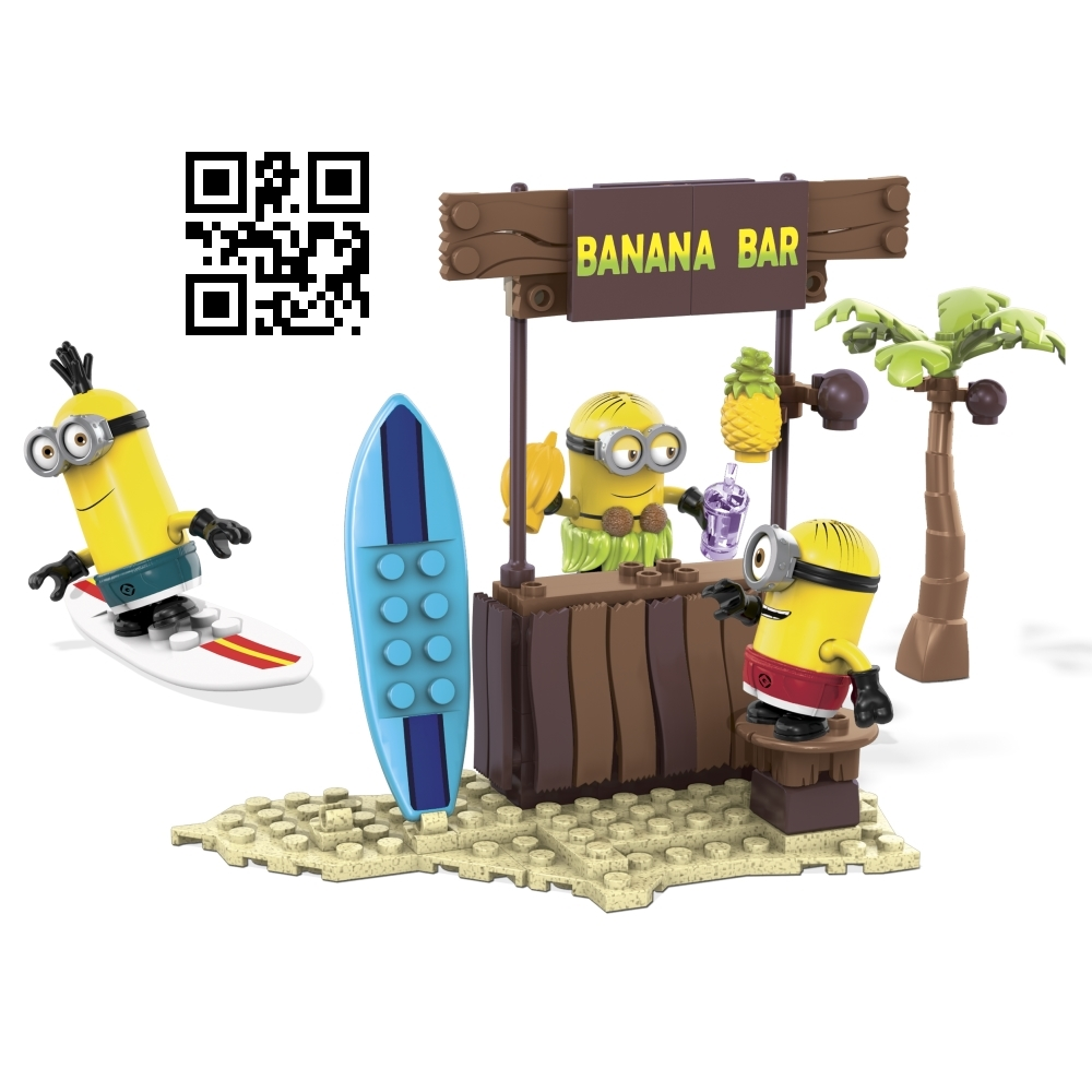 Mega Bloks Despicable ME <b>Beach Day [Surf's Up! Board, Shorts & Hula Skirt]</b> officially licensed Mega Bloks Despicable ME product at B.A. Toys.