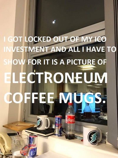 Electroneum Coffee Mugs were apparently ordered with ICO dollars rather than spending ICO dollars on coding, cryptocurrency and blockchain improvements: coinclusion: Thumbs Down- SCAM!