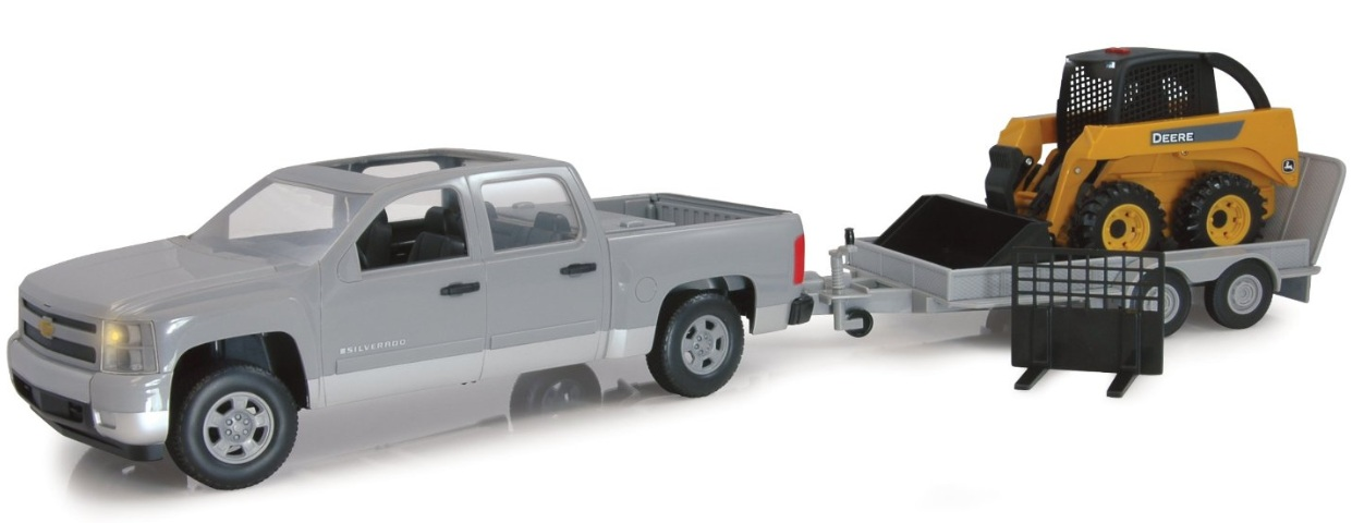 ERTL John Deere Big Farm Chevy Pickup Truck & Ramp Flatbed Trailer with John Deere Skidsteer 1:16 Scale officially licensed ERTL John Deere Big Farm product at B.A. Toys.