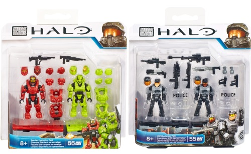 Halo Wars Mega Bloks NMPD Customizer & Spartan Customizer Figure Packs.
