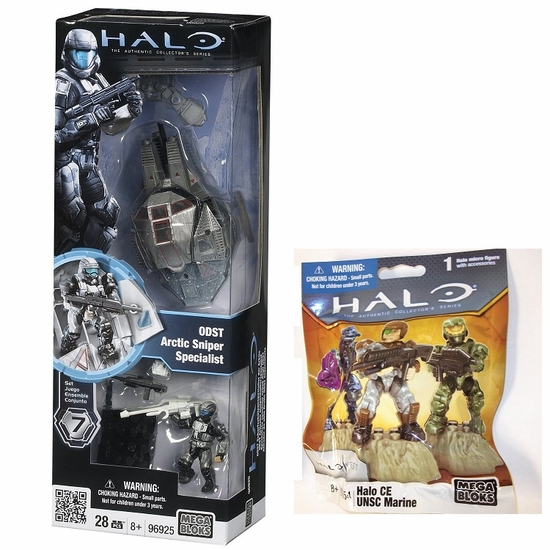 Halo Mega Bloks ODST Arctic Sniper  Specialist 96925 & 2011 Halo Fest CE UNSC Marine 99654 officially licensed Halo Mega Bloks product at B.A. Toys.