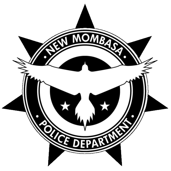 Halo: New Mombasa Police Department Logo featuring flying bird with wings spread over black star backdrop