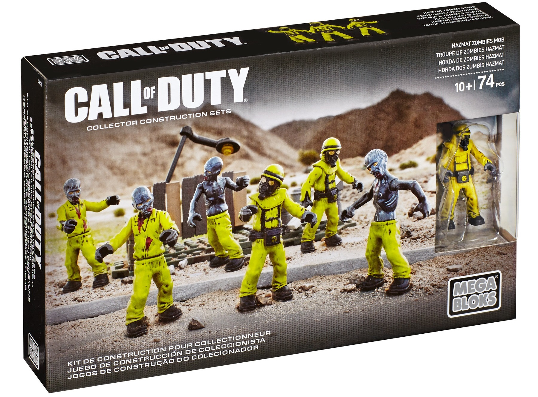 Call of Duty Mega Bloks Hazmat Zombie Mob Figure Pack, Nuketown Mob, features burnt out Zombie figures with gas masks and yellow hazmat suits.