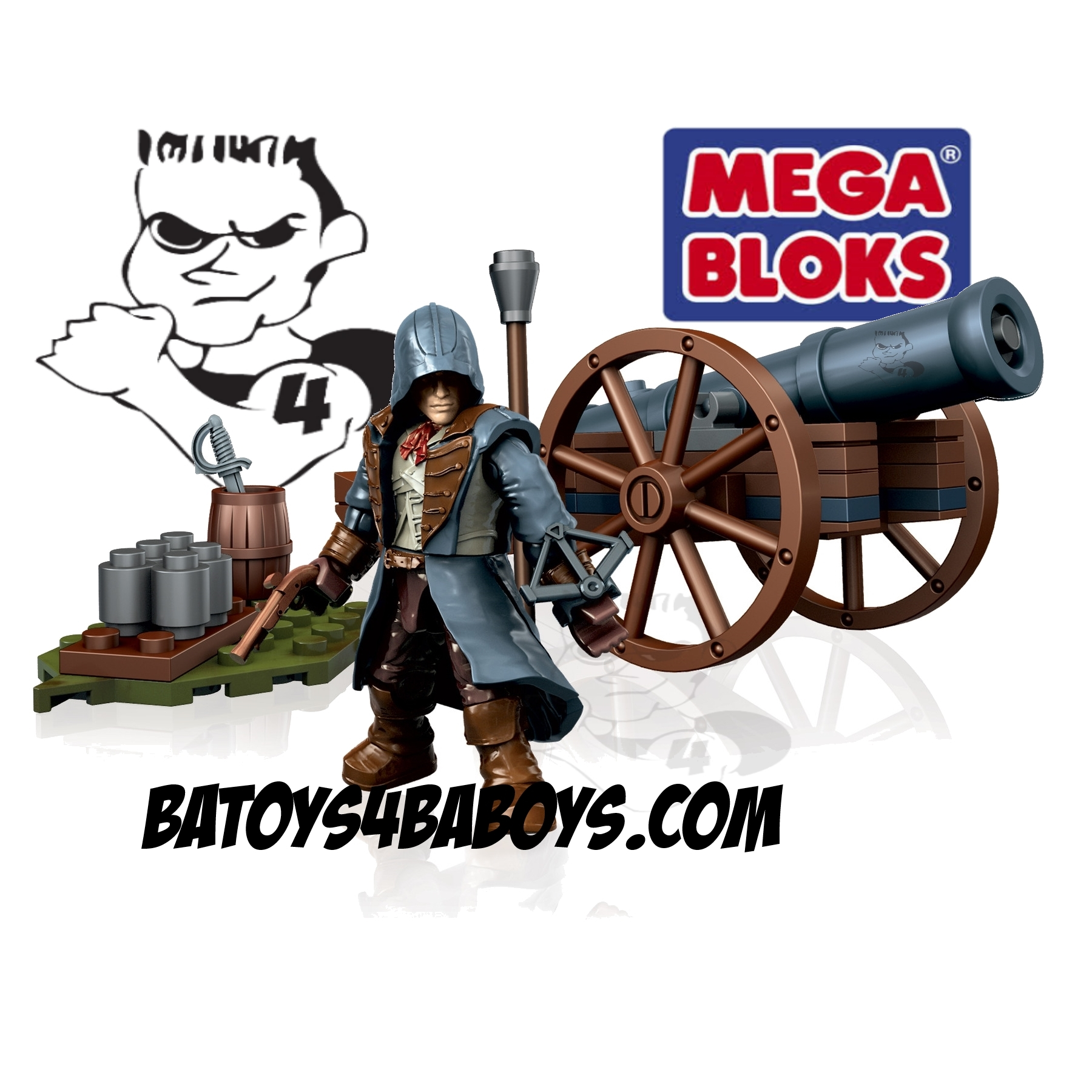 2014 Mega Bloks Assassin's Creed Cannon Strike [Assault] officially licensed Mega Bloks Assassin's Creed product at B.A. Toys.