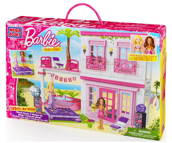 Mega Bloks Barbie Beach House officially licensed Mega Bloks Barbie product at B.A. Toys.