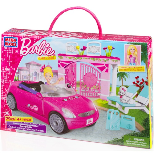 Mega Bloks Barbie Build 'n Style Convertible officially licensed Mega Bloks Barbie product at B.A. Toys.