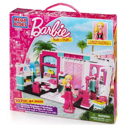 Mega Bloks Barbie Build 'n Style Fashion Boutique is an officially licensed, authentic Mega Bloks Barbie product at B.A. Toys featuring Build 'n Style Fashion Boutique by Mega Bloks Barbie