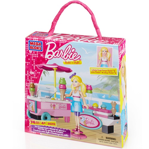 Mega Bloks Barbie Build 'n Style Ice Cream Cart officially licensed Mega Bloks Barbie product at B.A. Toys.