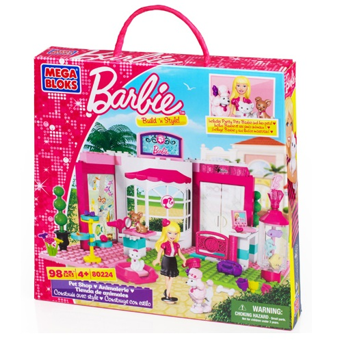 Mega Bloks Barbie Build 'n Style Pet Shop officially licensed Mega Bloks Barbie product at B.A. Toys.