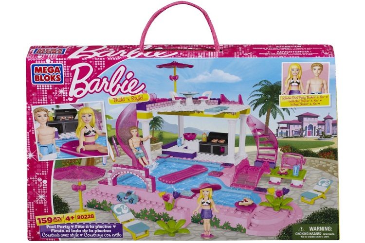 Mega Bloks Barbie Pool Party officially licensed Mega Bloks Barbie product at B.A. Toys.