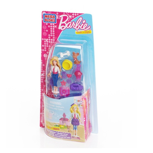 Mega Bloks Barbie Puppy Pals Barbie officially licensed Mega Bloks Barbie product at B.A. Toys.