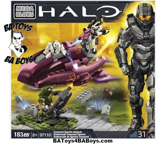 Halo Mega Bloks Covenant Spectre Ambush officially licensed Halo Mega Bloks product at B.A. Toys.