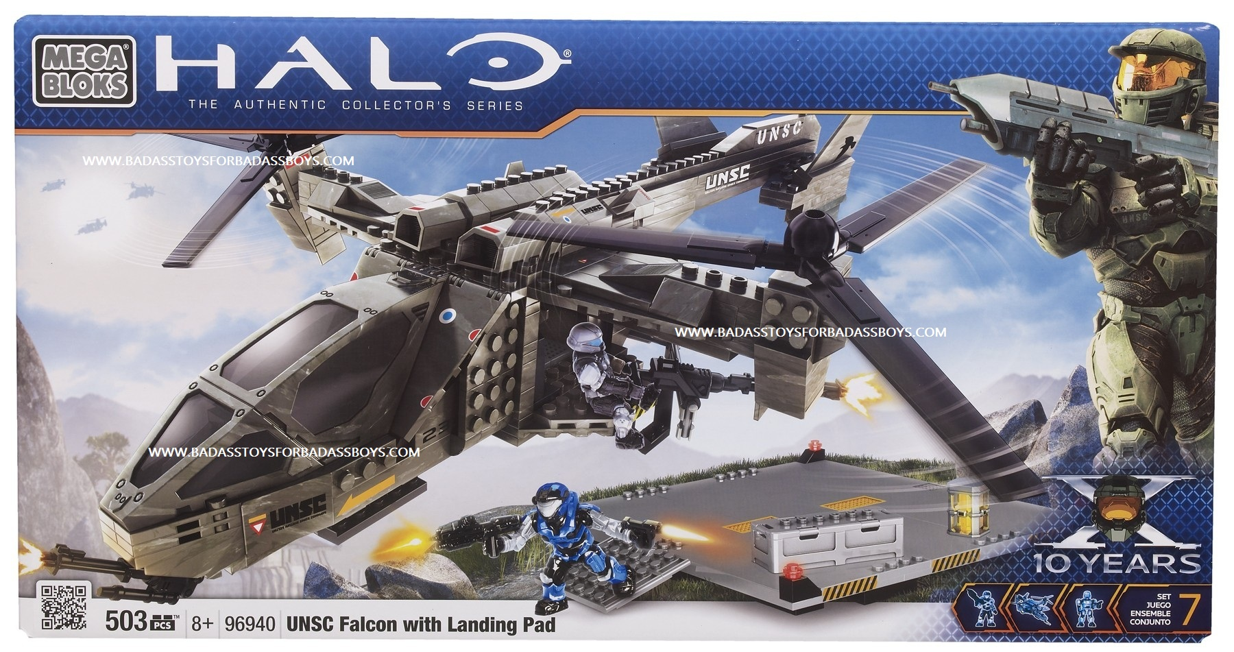 Halo Mega Bloks UNSC Falcon with landing pad officially licensed Halo Mega Bloks product at B.A. Toys.