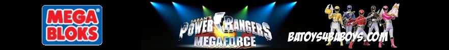 Power Rangers Megaforce Banner image featuring 6 spotlights shining upon Saban's Power Rangers Megaforce in the center.  Left of center is a Mega Bloks logo and right of center is the Power Ranges Megaforce figure characters: Yellow, Blue, Black, Red and Pick each with their weapons.