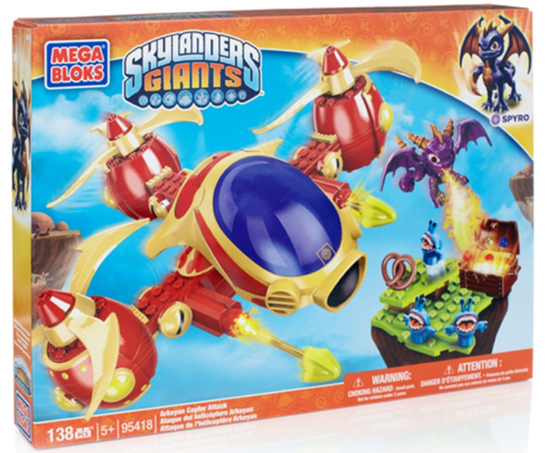 Skylanders GIANTS Mega Bloks Arkeyan Copter Attack [Spyro] is an officially licensed, authentic Skylanders GIANTS Mega Bloks product at B.A. Toys featuring Arkeyan Copter Attack [Spyro] by Skylanders GIANTS Mega Bloks