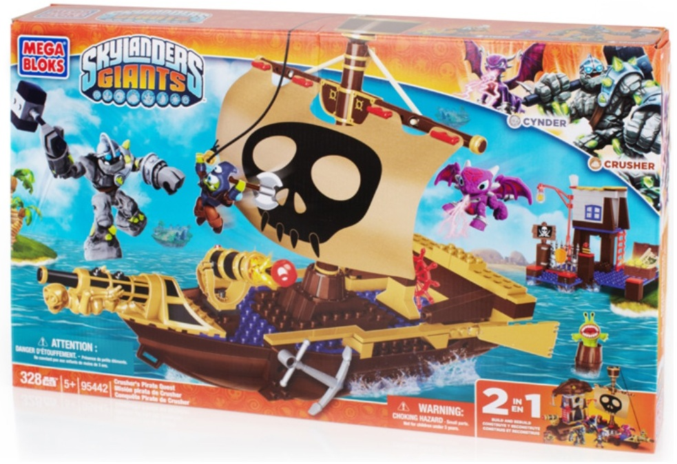 Skylanders GIANTS Mega Bloks Crusher's Pirate Quest [Crusher* & Cynder] officially licensed Skylanders GIANTS Mega Bloks product at B.A. Toys.