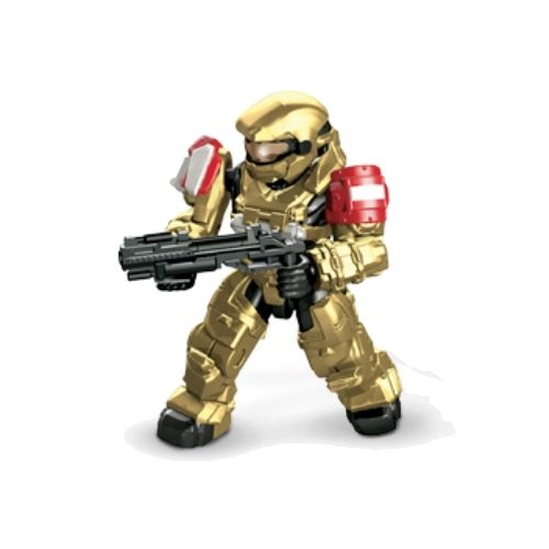 Mega Bloks Halo UNSC Spartan Grenadier & Grenade Launcher [Gold] Loose MAF officially licensed Mega Bloks Halo product at B.A. Toys.