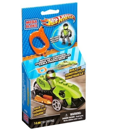 Hot Wheels Mega Bloks HW Speed Racer [Green Ripcord Racer] officially licensed Hot Wheels Mega Bloks product at B.A. Toys.