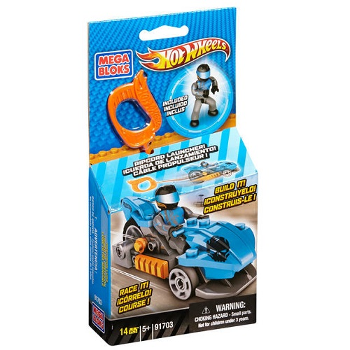 Hot Wheels Mega Bloks HW Precision Luge [Blue Ripcord Racer] officially licensed Hot Wheels Mega Bloks product at B.A. Toys.