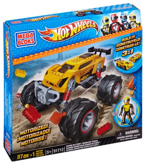 Hot Wheels Mega Bloks Hot Wheels Super Blitzen Monster Truck [Yellow] officially licensed Hot Wheels Mega Bloks product at B.A. Toys.