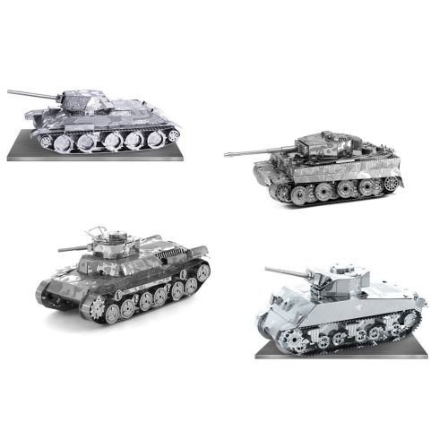 Metal Earth Tank Set of 4 [T-34, Tiger 1, Chi Ha & Sherman] Special Order Ships 2-4 Weeks officially licensed Metal Earth product at B.A. Toys.