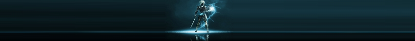 Raiden looking backwards over shoulder with electricity power energy magic emanating outward from hands and feet.