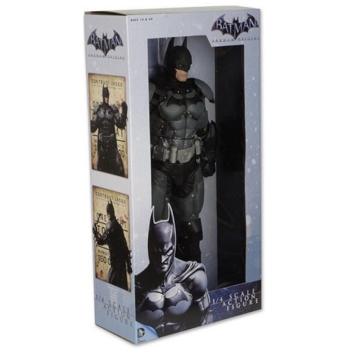 NECA Batman Arkham Origins Quarter Scale Action Figure, 18 inch batman toy figure with grapnel gun, batarang and 25 points of articulation as packaged.