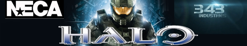 Halo logo, Neca Logo, 343 Industries logo on high tech background banner