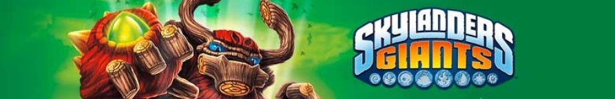Skylanders Toy banner of Skylanders Logo and character Tree Rex thowing a punch.