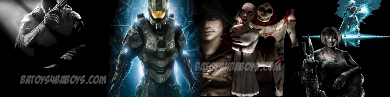Video Game Themed dark banner featuring Halo Master Chief, Call of Duty, Assassin's Creed, Alice Madness Returns, Gears of War & Metal Gear Rising Revengeance Raiden at BA Toys.